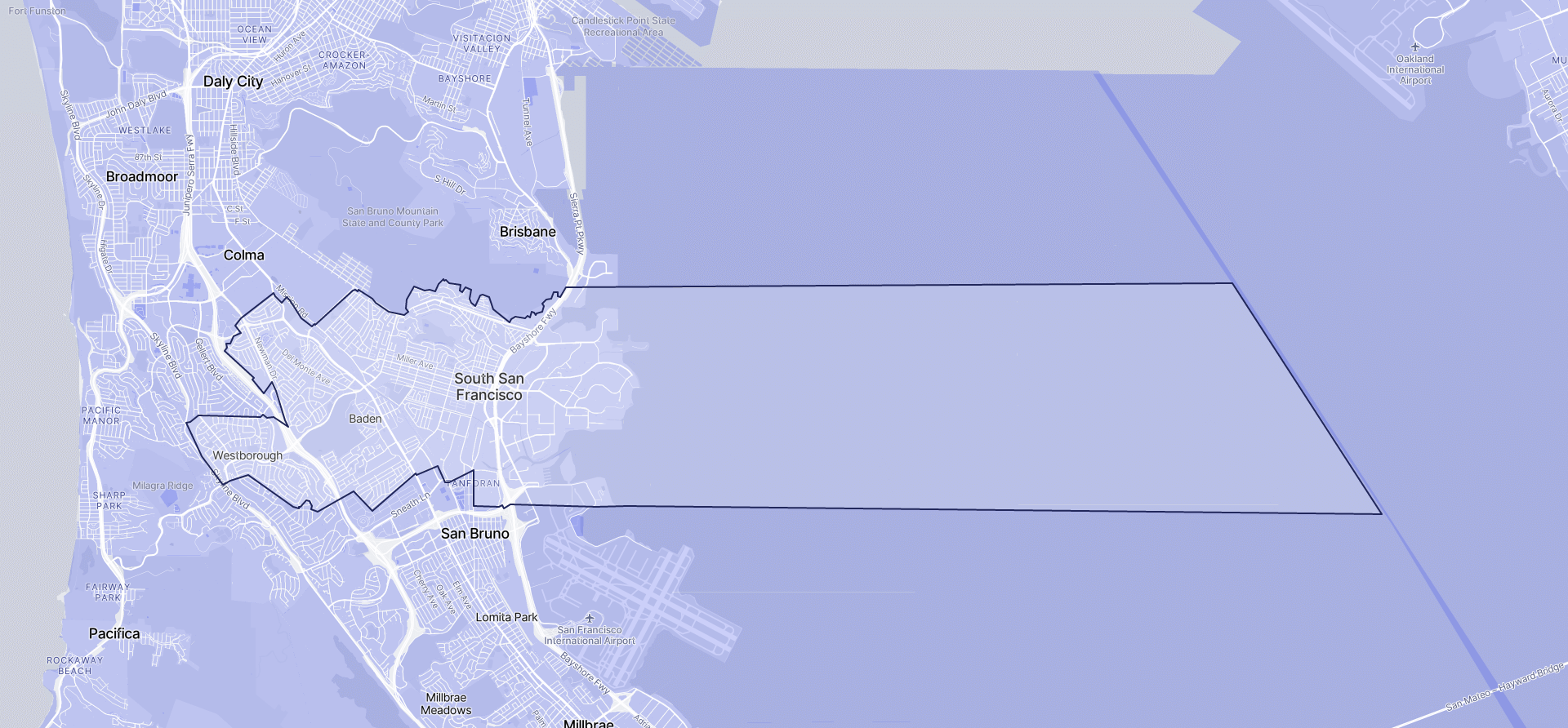 Image of South San Francisco boundaries on a map.