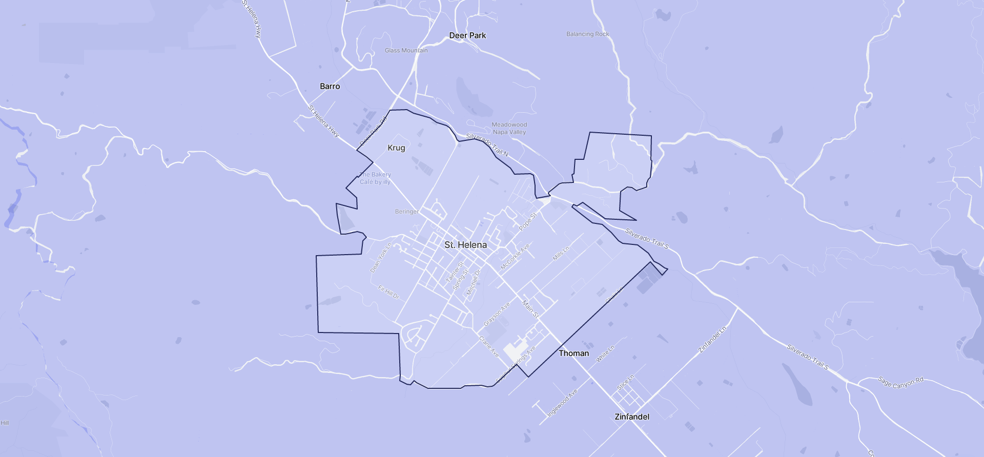 Image of St. Helena boundaries on a map.
