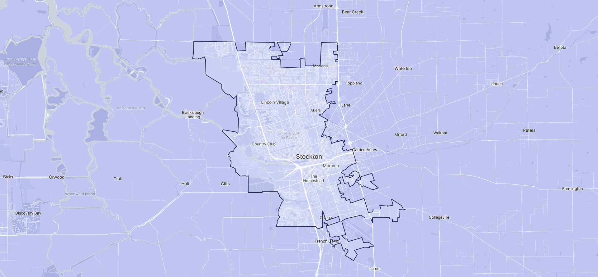 Image of Stockton boundaries on a map.