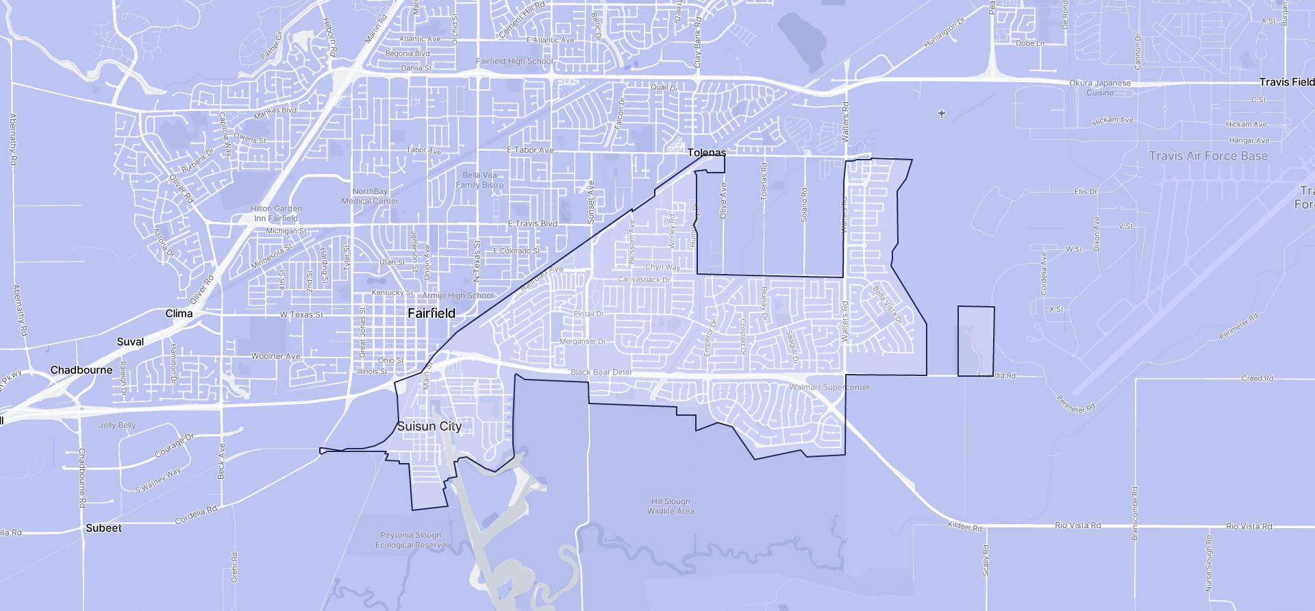Image of Suisun City boundaries on a map.