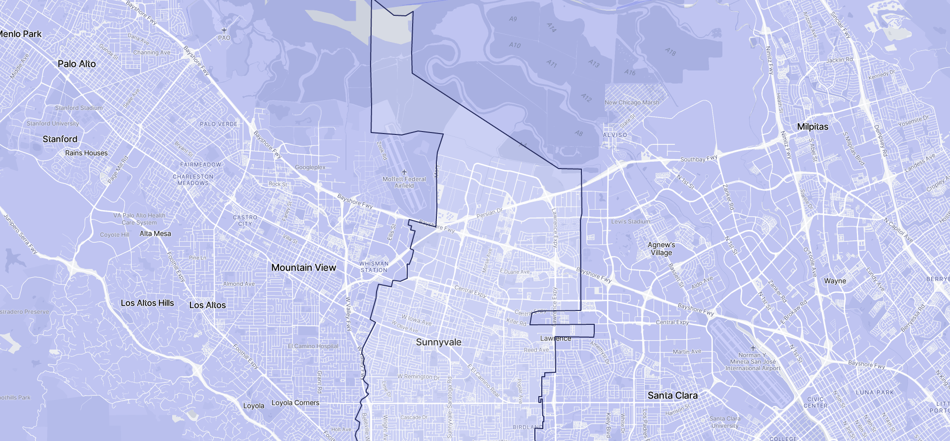 Image of Sunnyvale boundaries on a map.