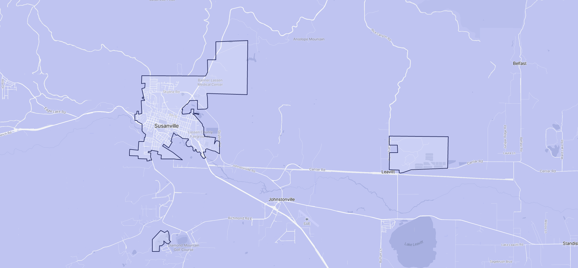 Image of Susanville boundaries on a map.