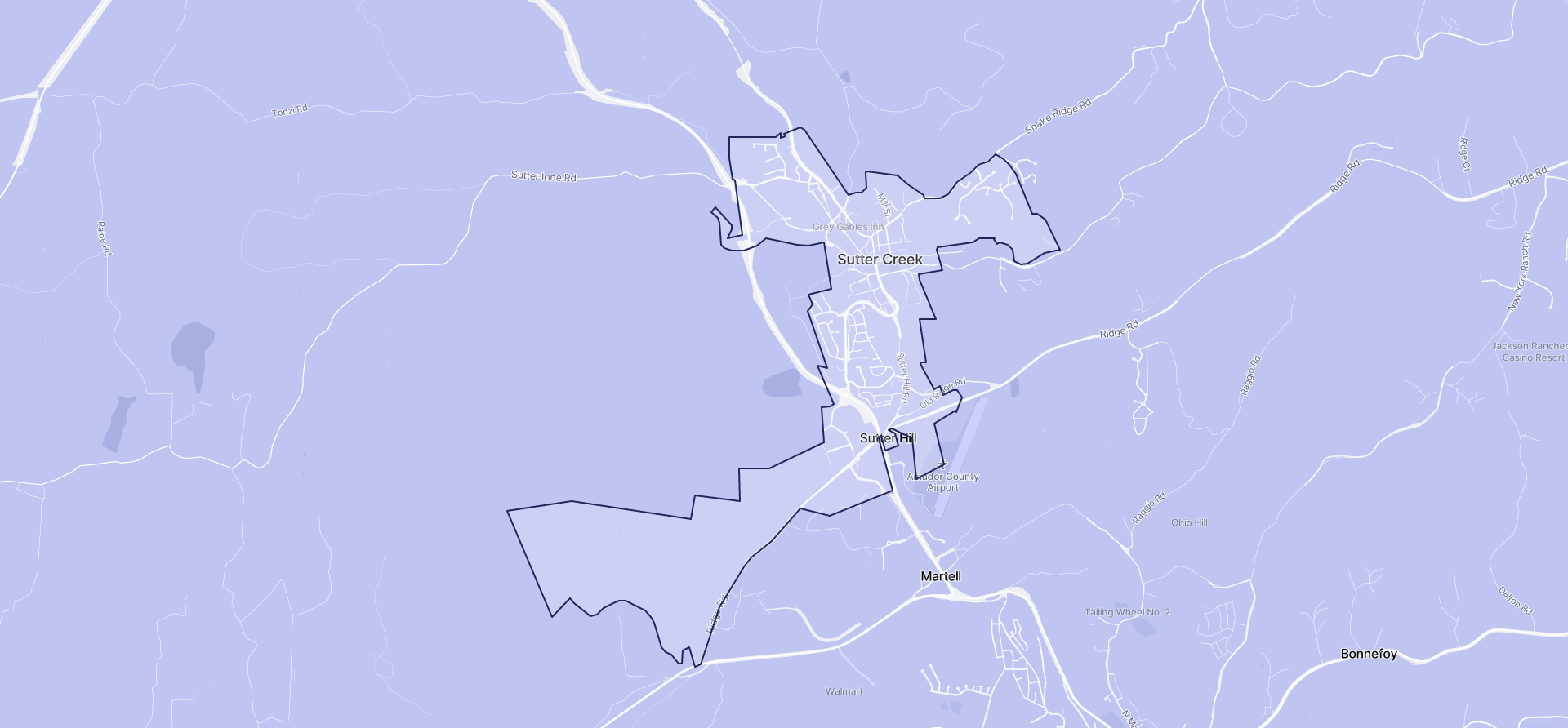 Image of Sutter Creek boundaries on a map.