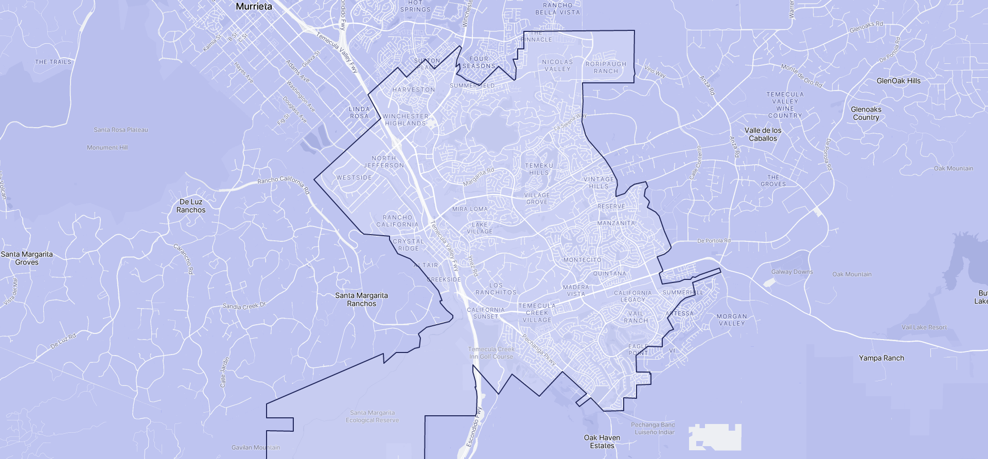 Image of Temecula boundaries on a map.