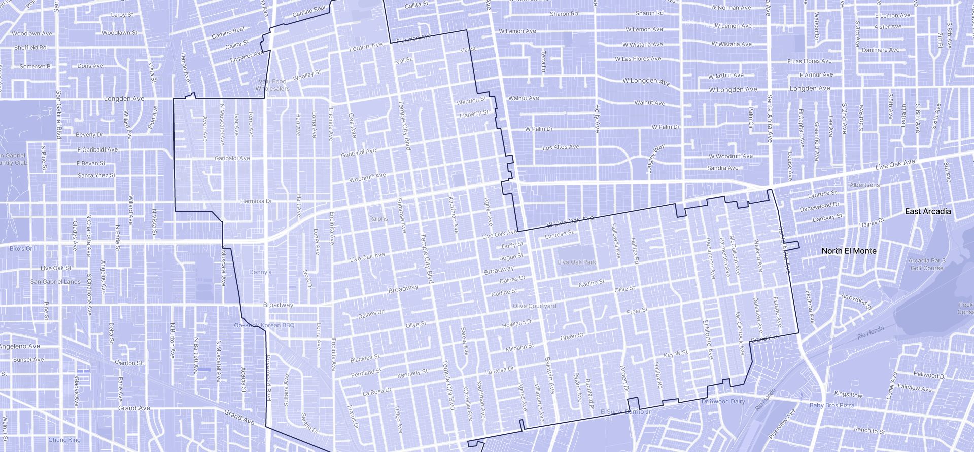 Image of Temple City boundaries on a map.