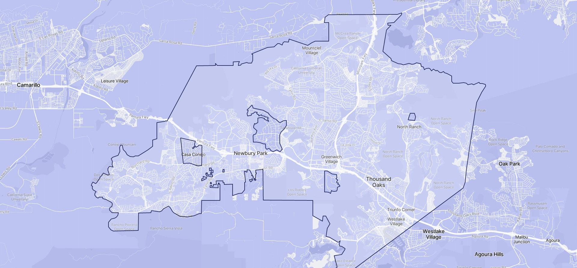 Image of Thousand Oaks boundaries on a map.