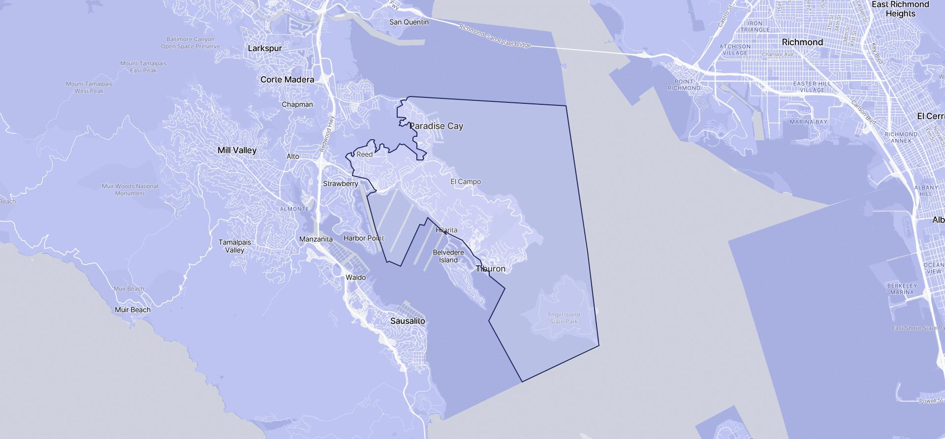 Image of Tiburon boundaries on a map.