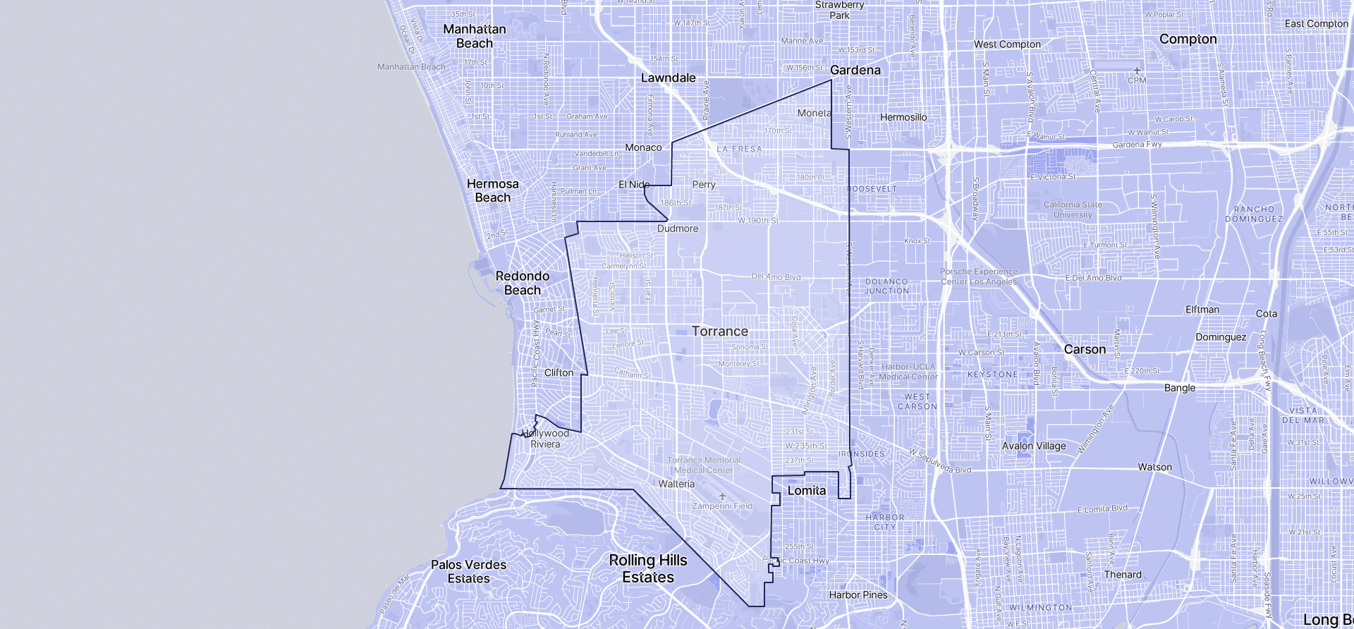 Image of Torrance boundaries on a map.