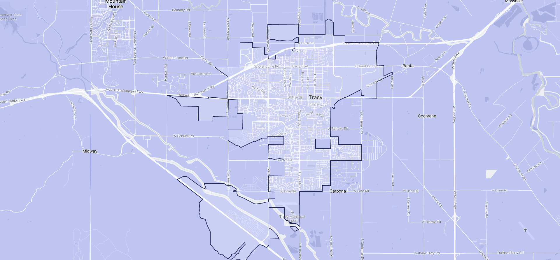 Image of Tracy boundaries on a map.