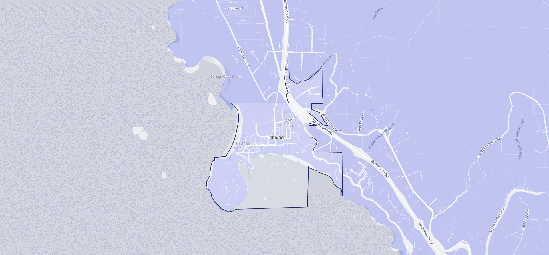 Image of Trinidad boundaries on a map.