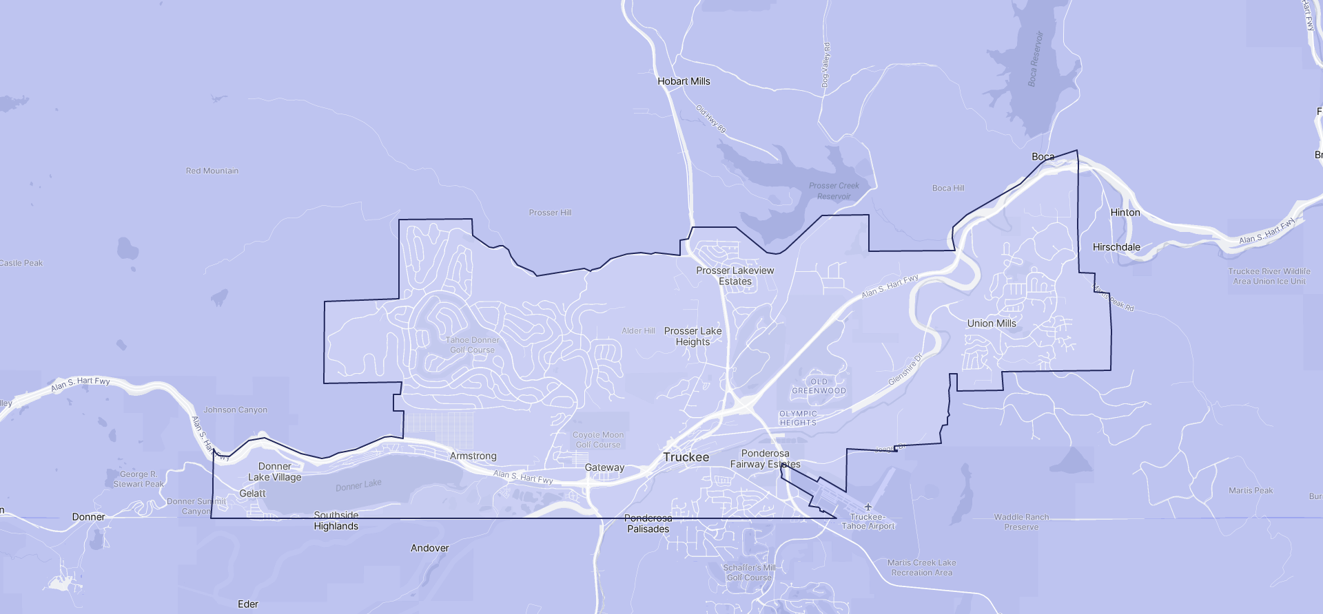 Image of Truckee boundaries on a map.