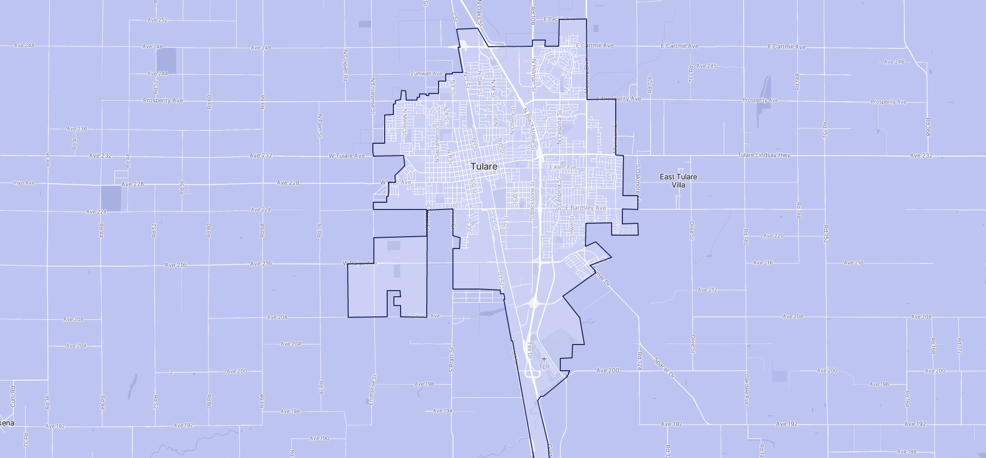 Image of Tulare boundaries on a map.