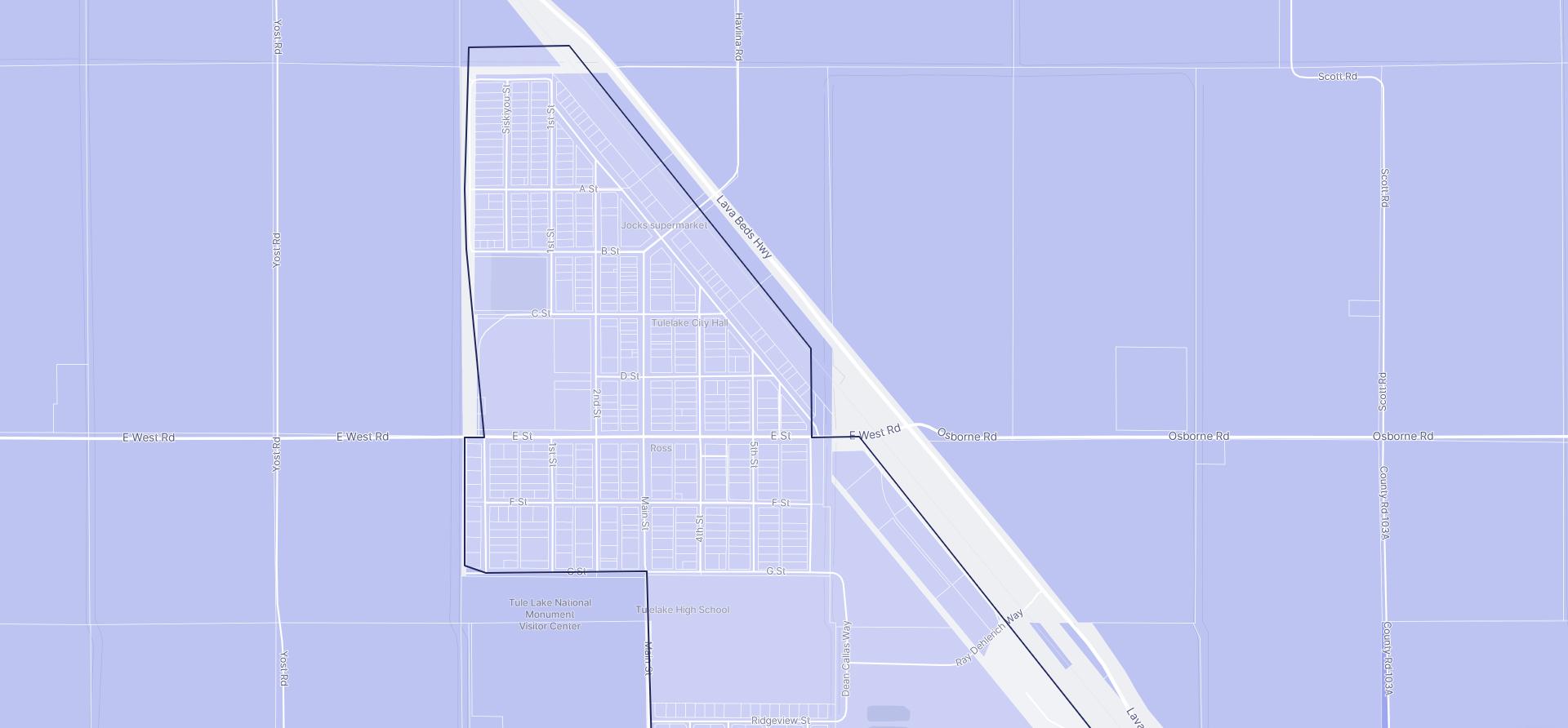 Image of Tulelake boundaries on a map.