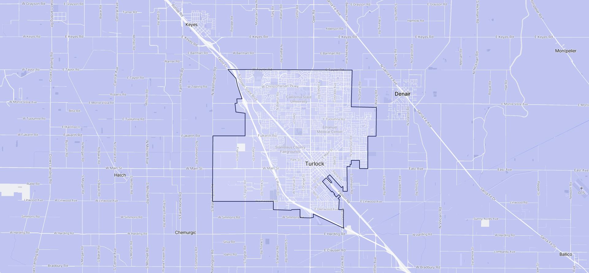 Image of Turlock boundaries on a map.