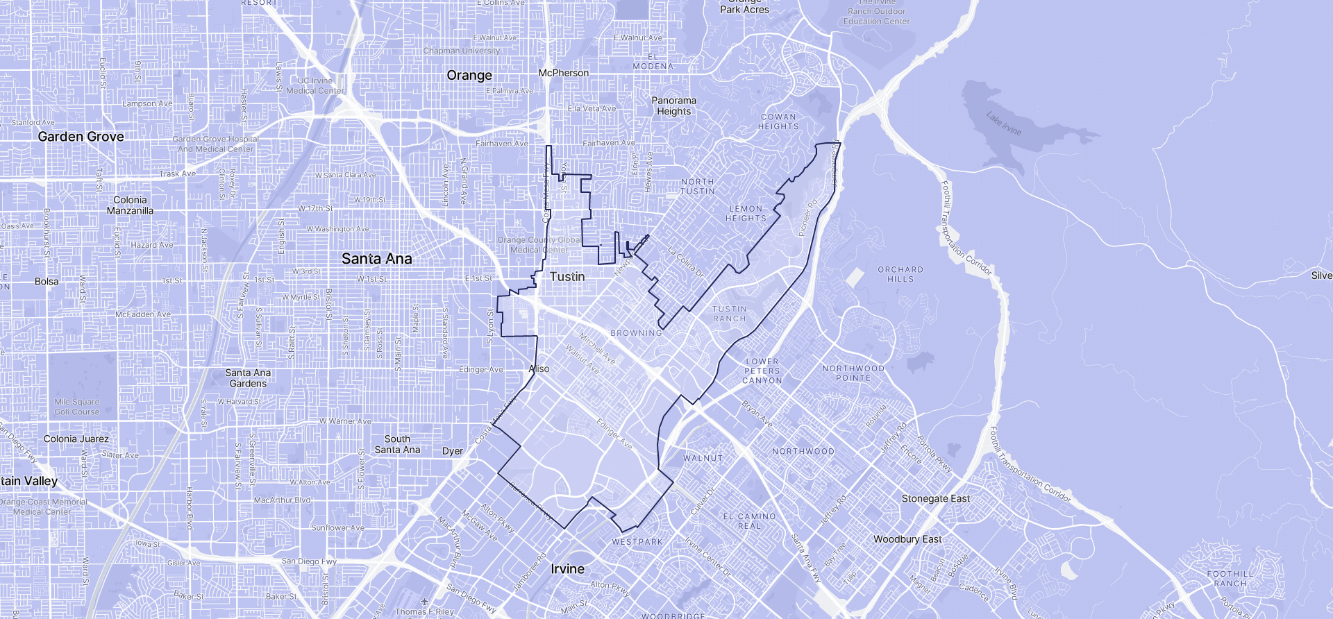 Image of Tustin boundaries on a map.