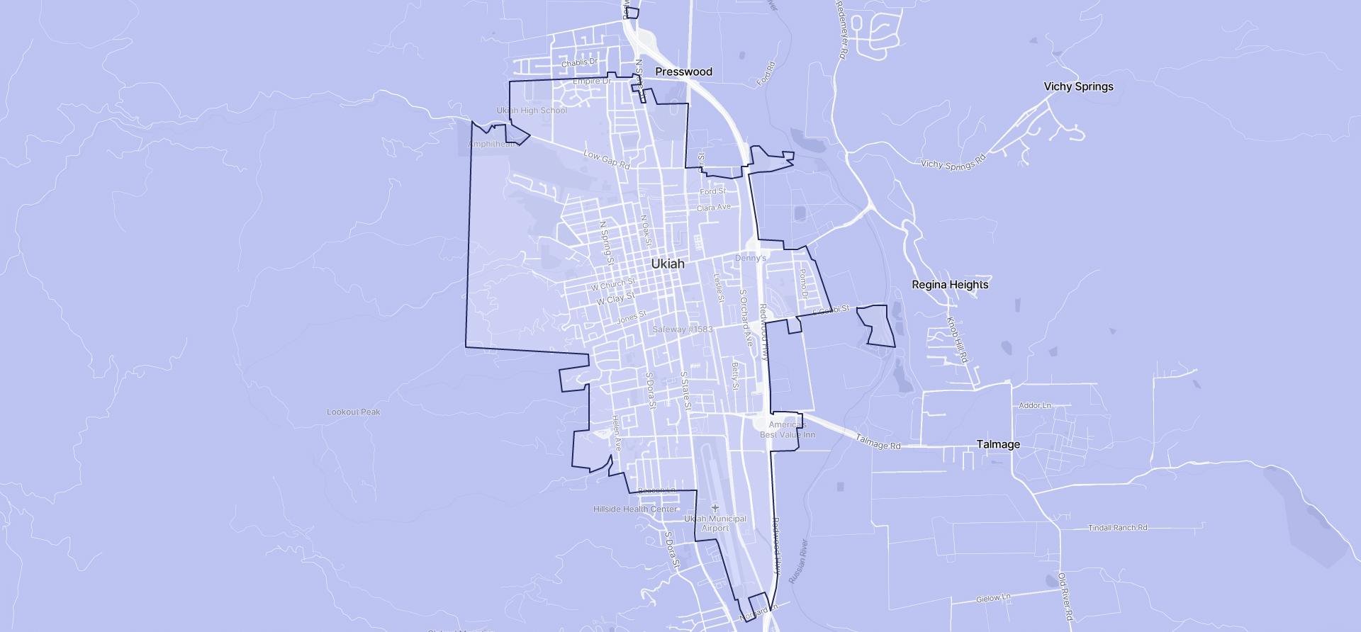 Image of Ukiah boundaries on a map.
