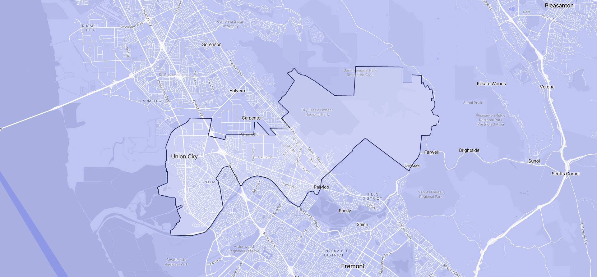 Image of Union City boundaries on a map.