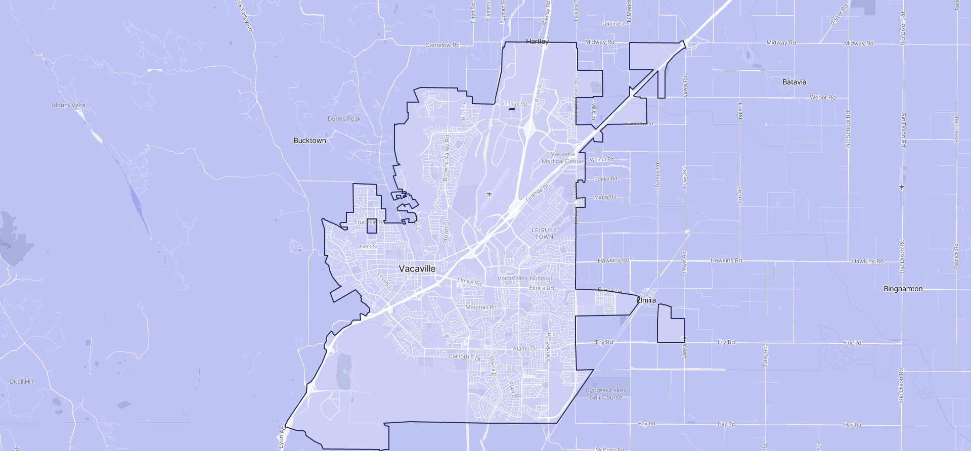 Image of Vacaville boundaries on a map.