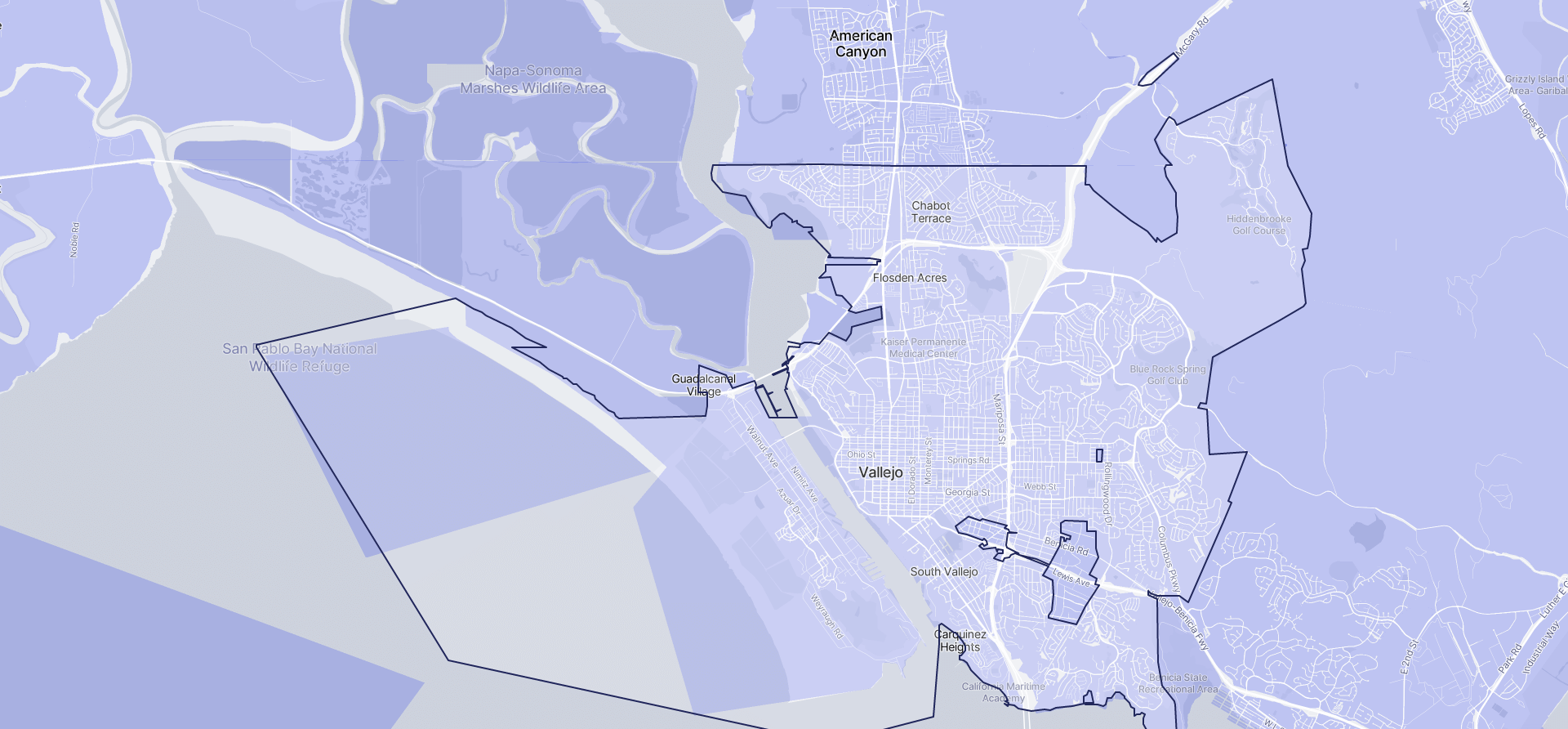 Image of Vallejo boundaries on a map.