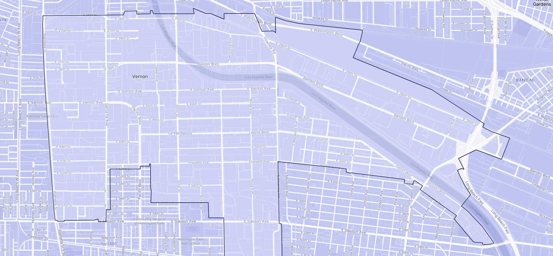Image of Vernon boundaries on a map.