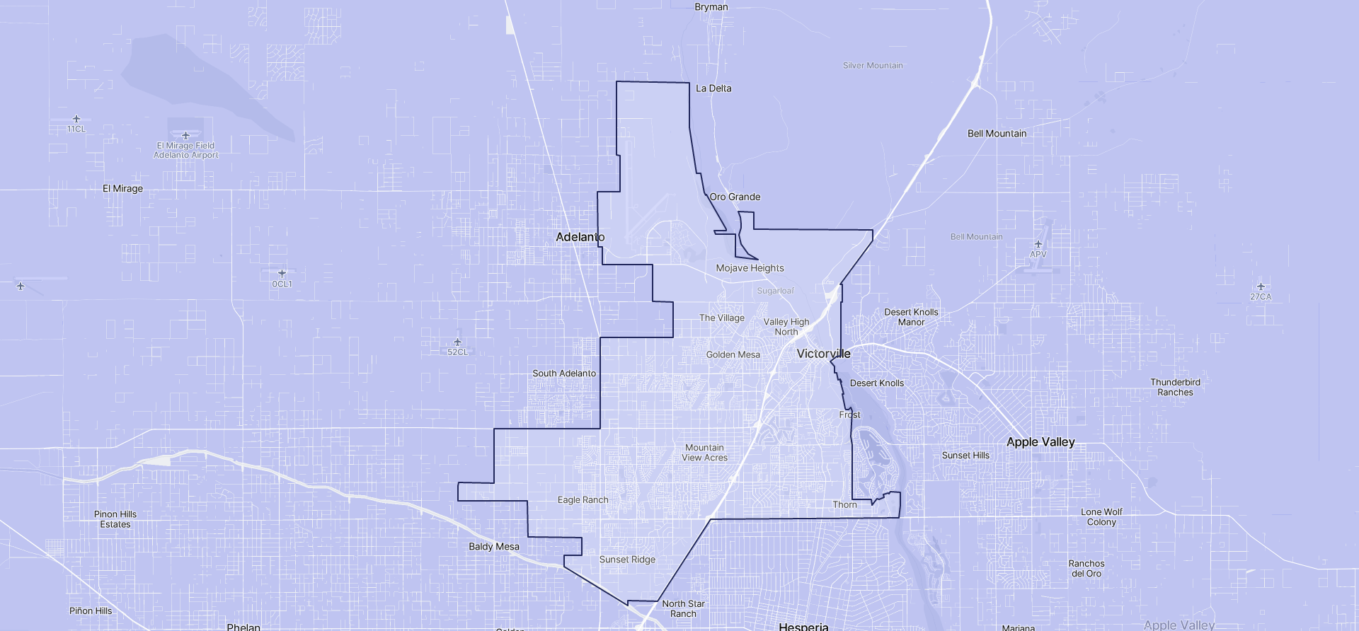 Image of Victorville boundaries on a map.