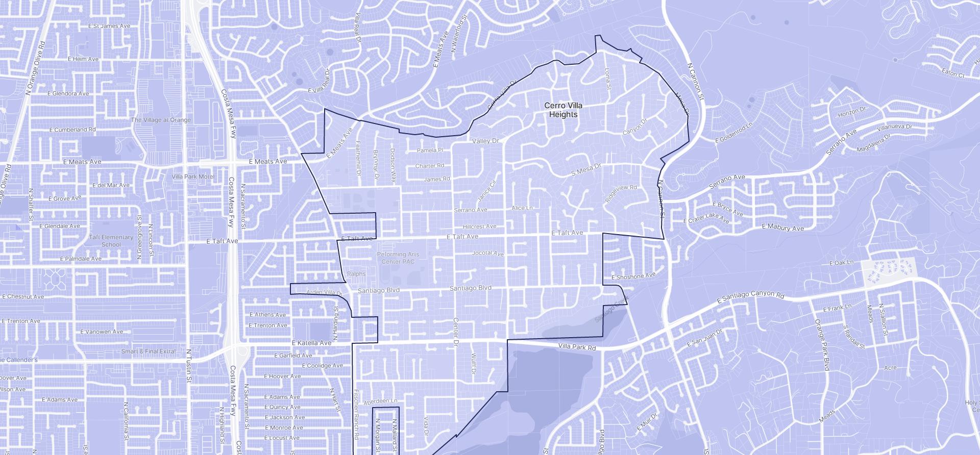 Image of Villa Park boundaries on a map.