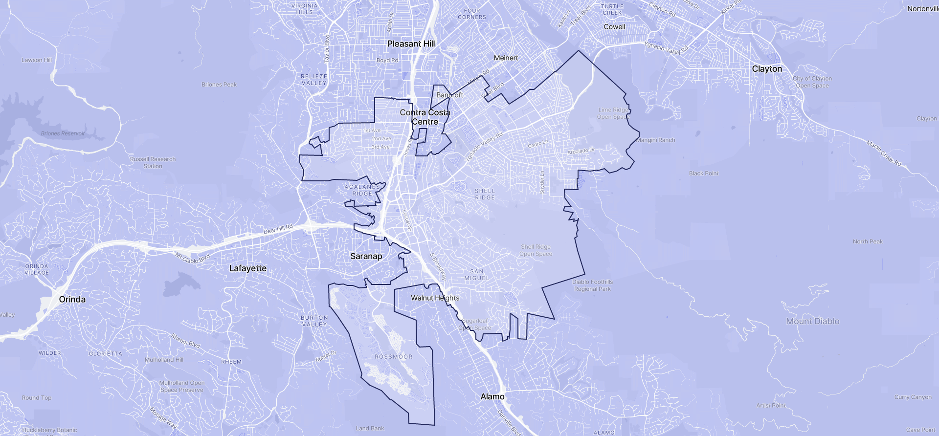 Image of Walnut Creek boundaries on a map.