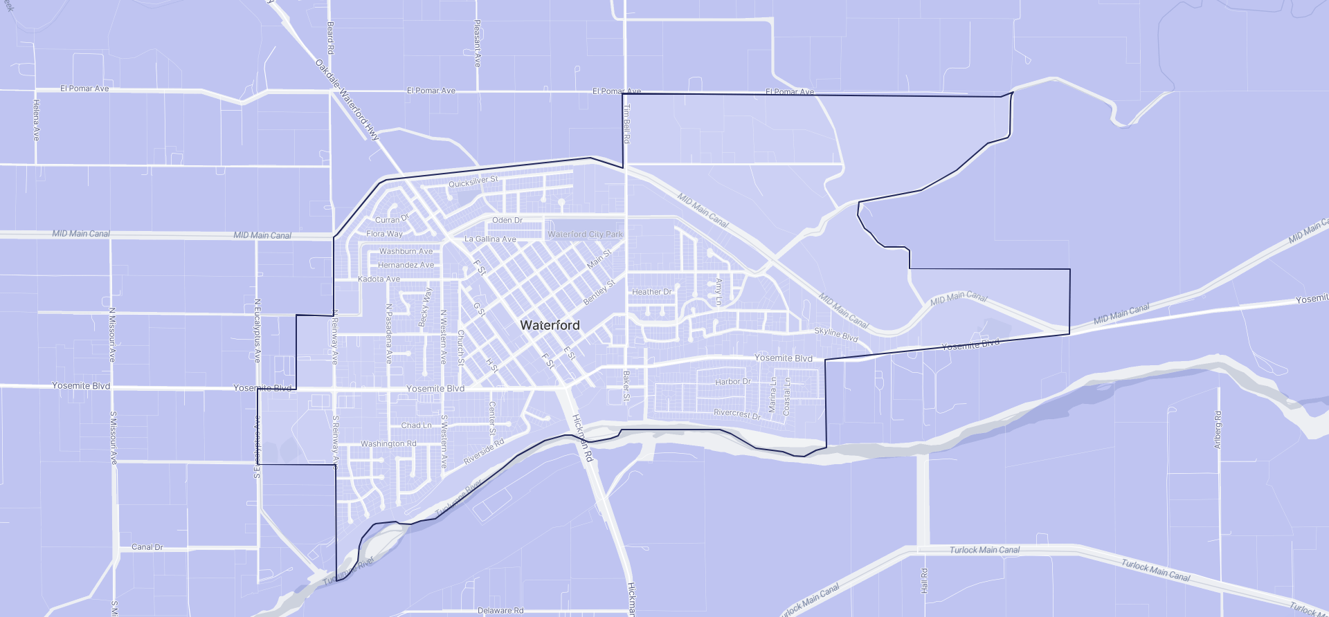 Image of Waterford boundaries on a map.
