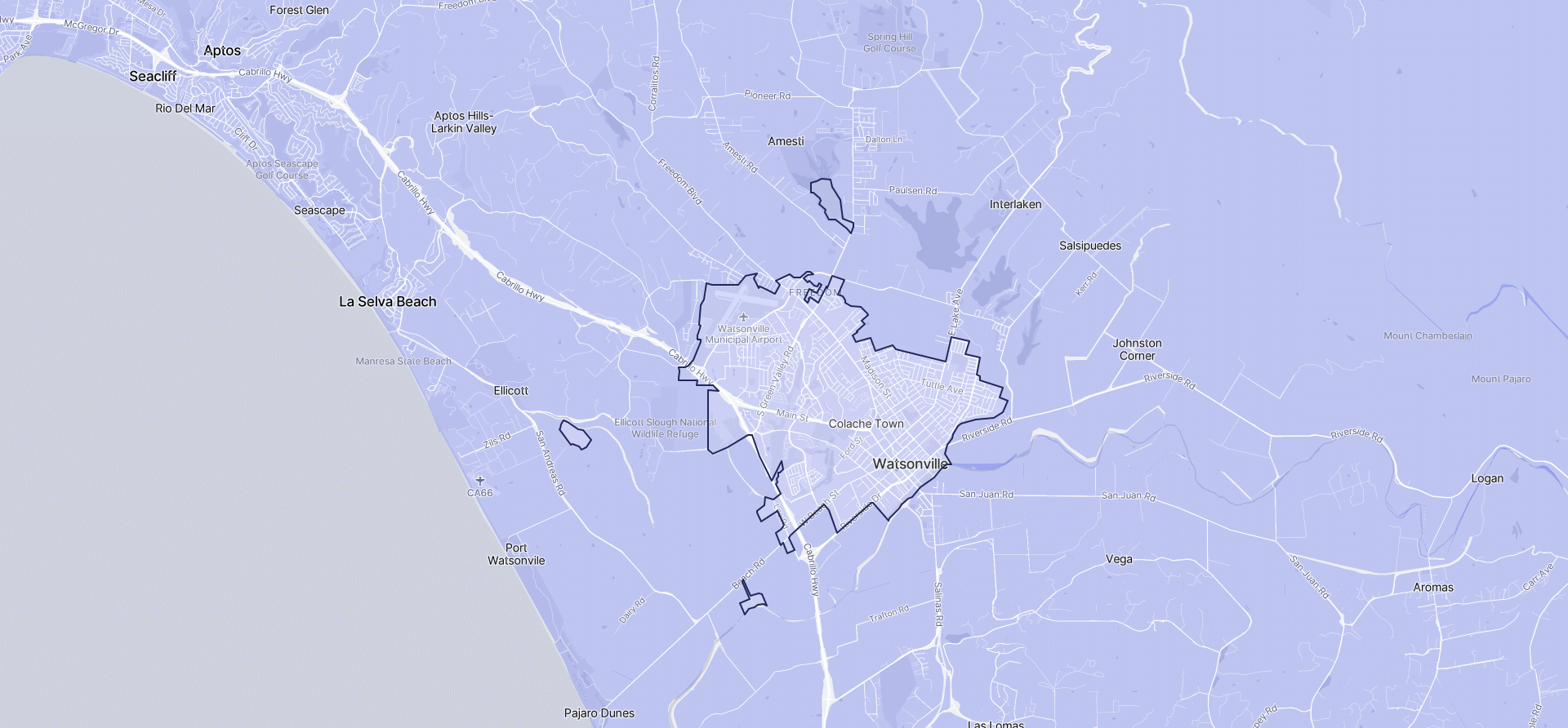Image of Watsonville boundaries on a map.