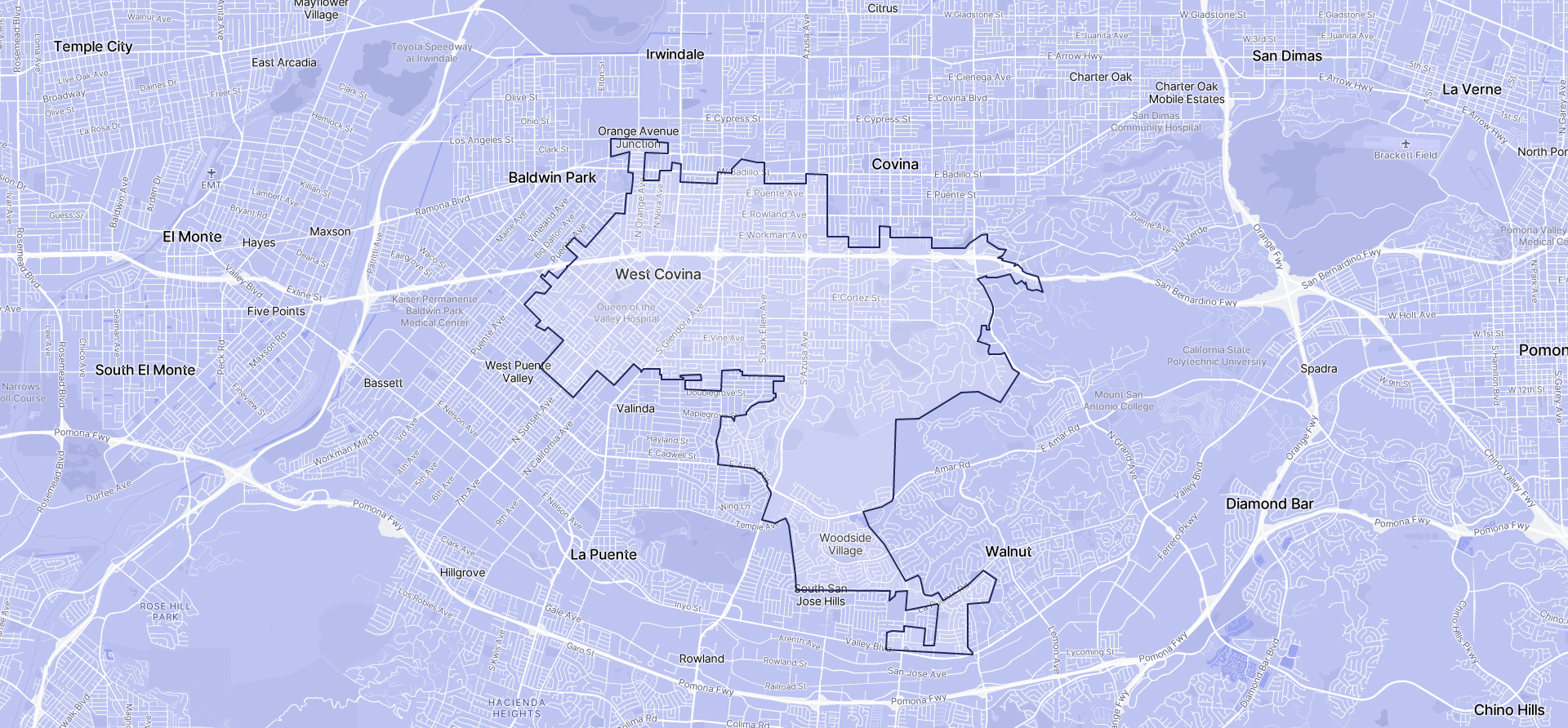 Image of West Covina boundaries on a map.