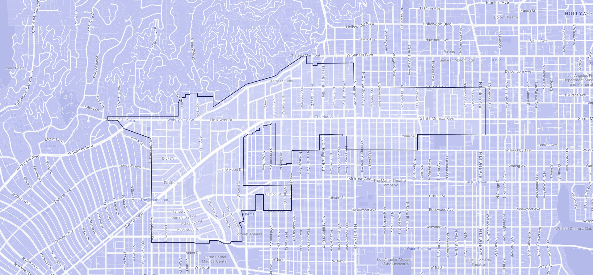 Image of West Hollywood boundaries on a map.