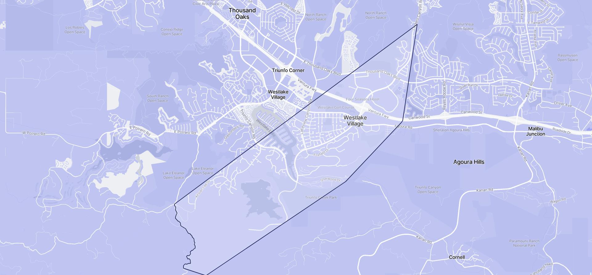 Image of Westlake Village boundaries on a map.