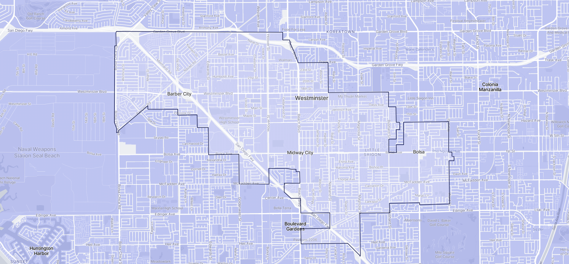 Image of Westminster boundaries on a map.