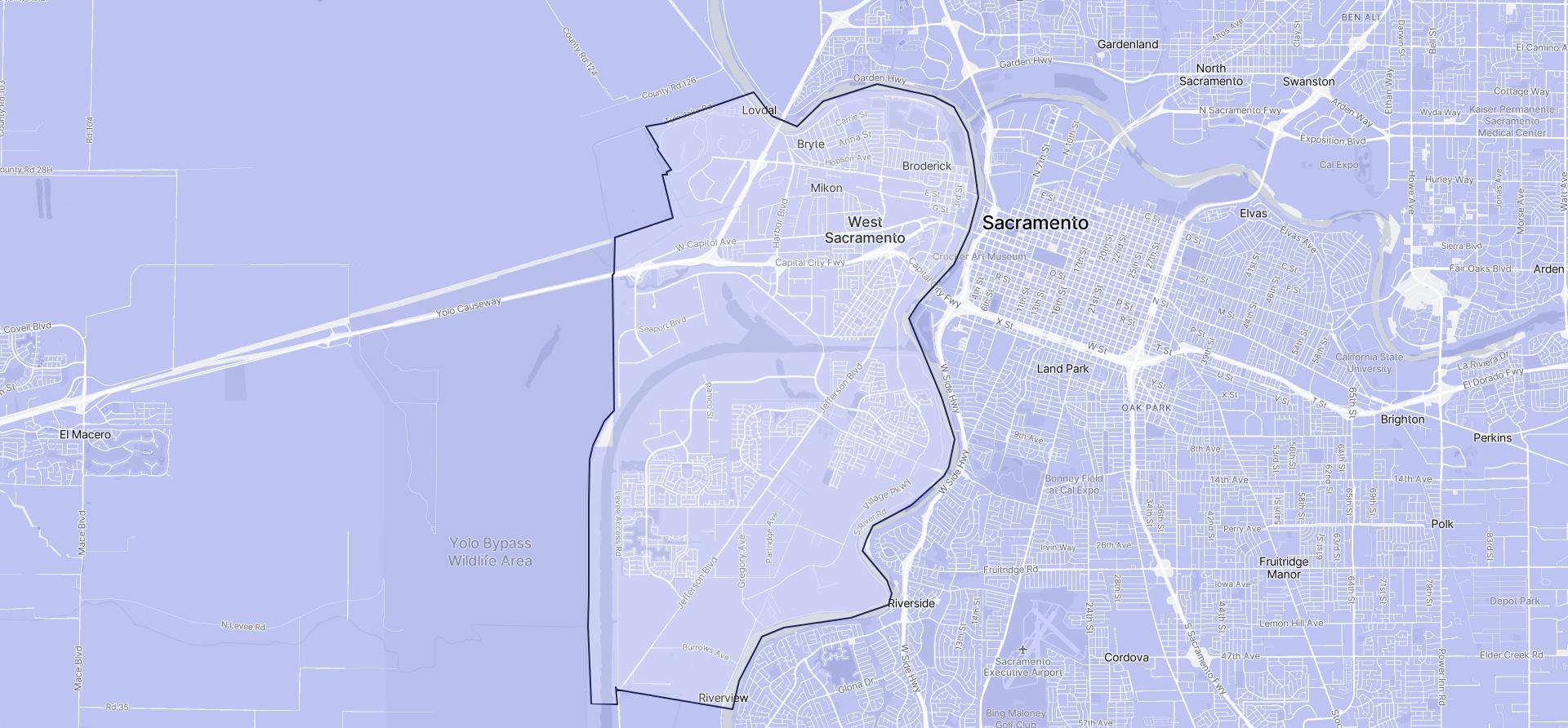 Image of West Sacramento boundaries on a map.