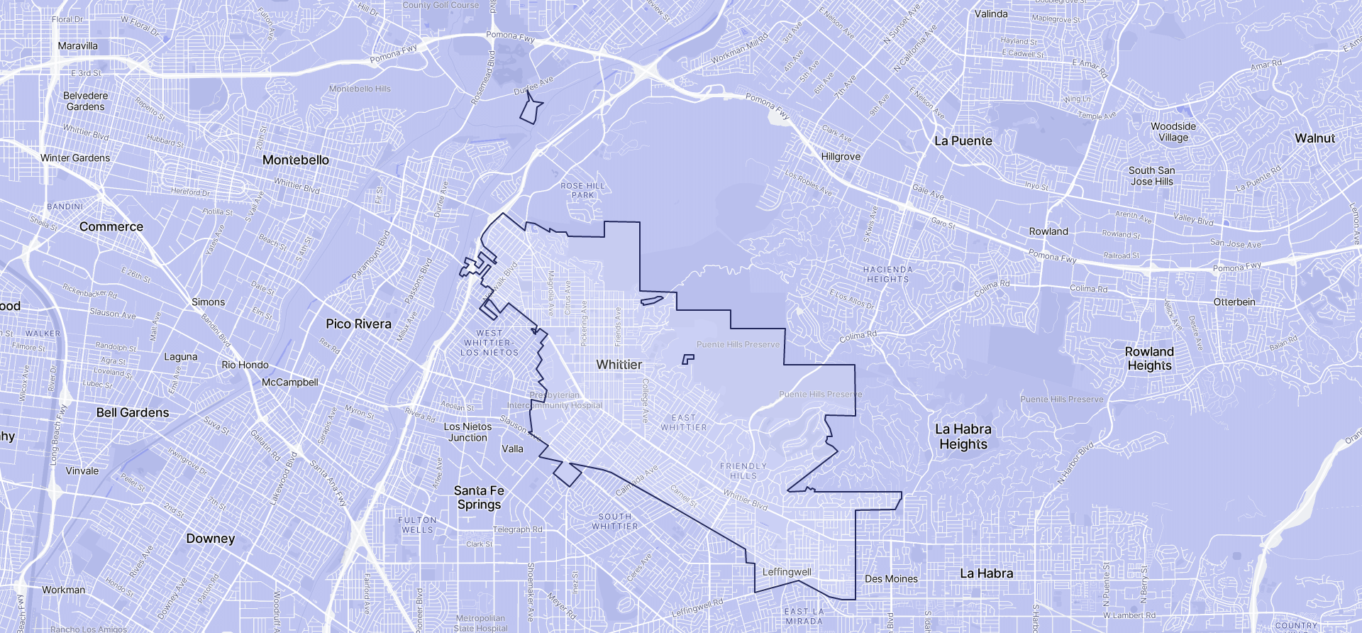 Image of Whittier boundaries on a map.