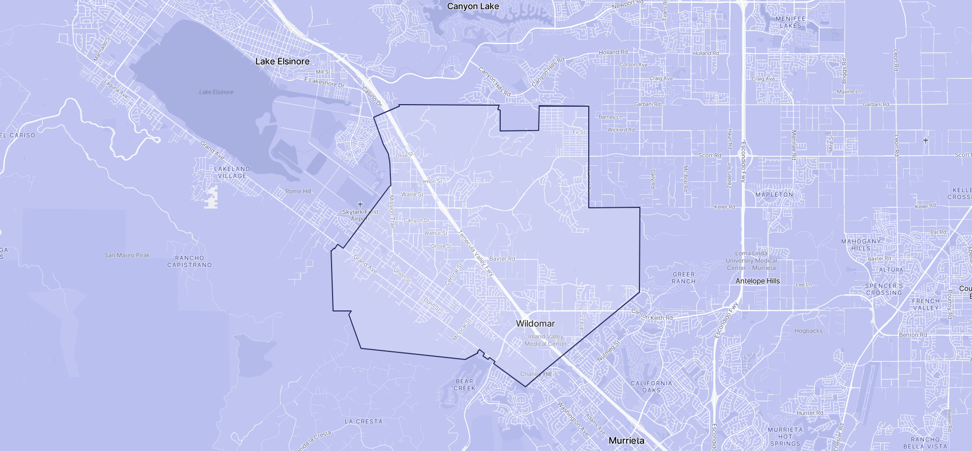 Image of Wildomar boundaries on a map.