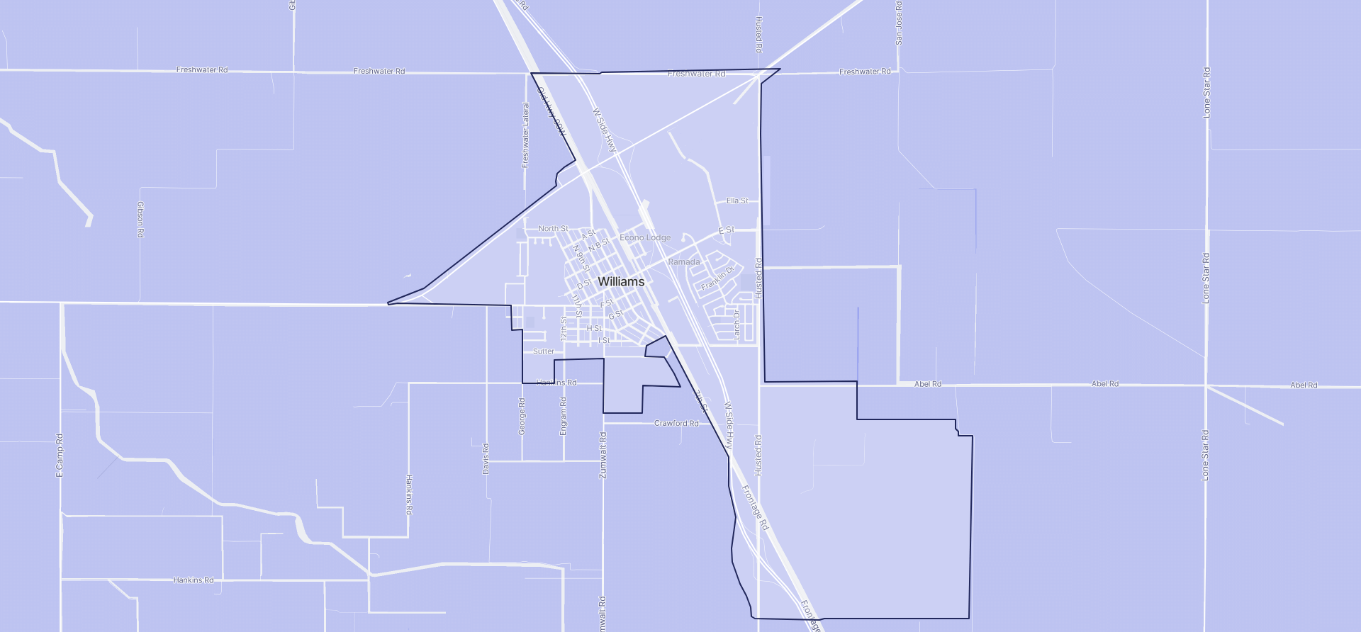 Image of Williams boundaries on a map.