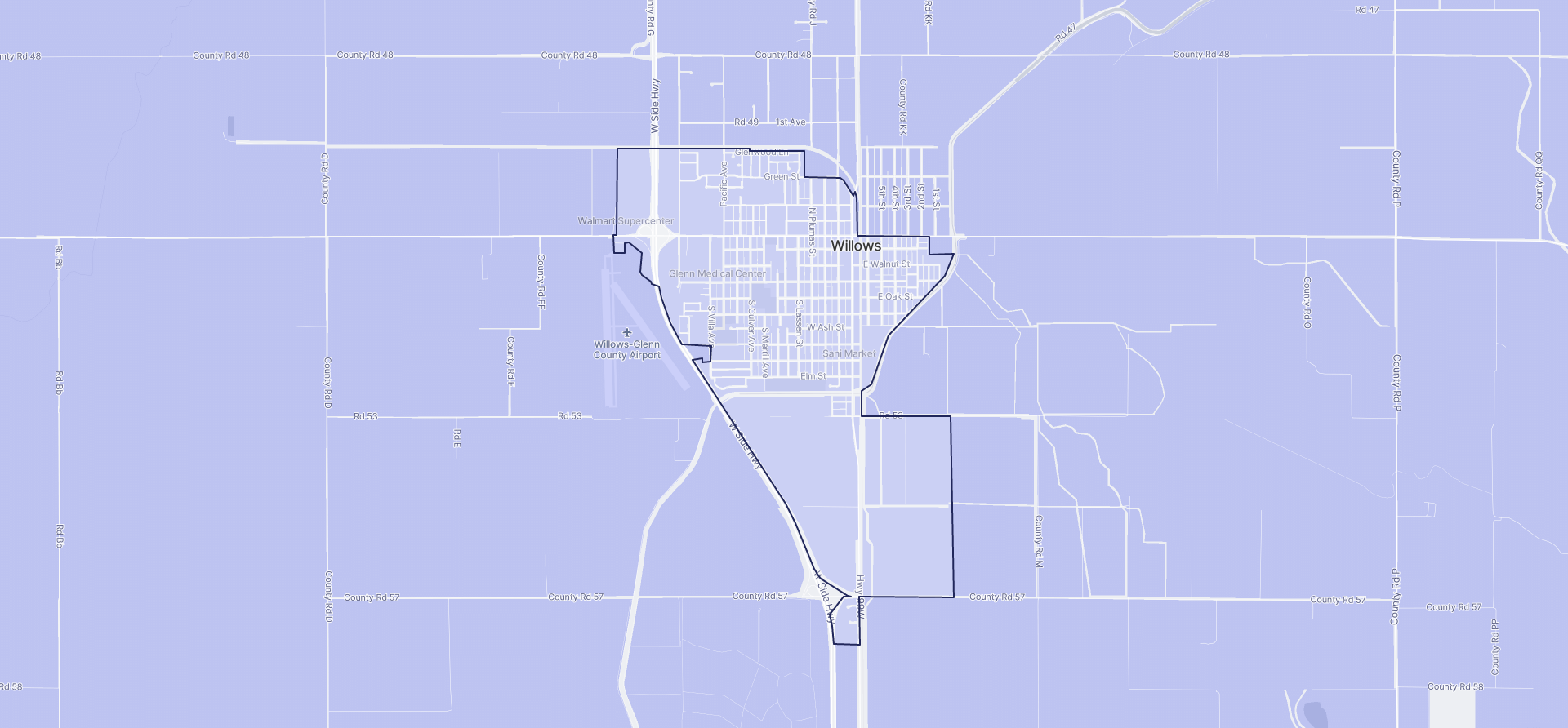 Image of Willows boundaries on a map.