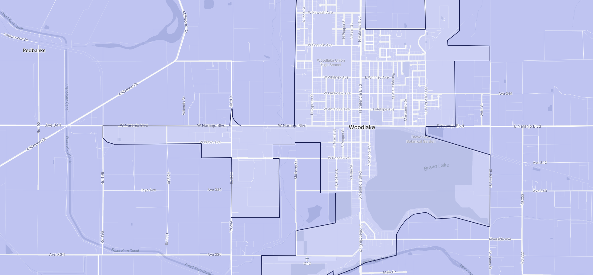 Image of Woodlake boundaries on a map.