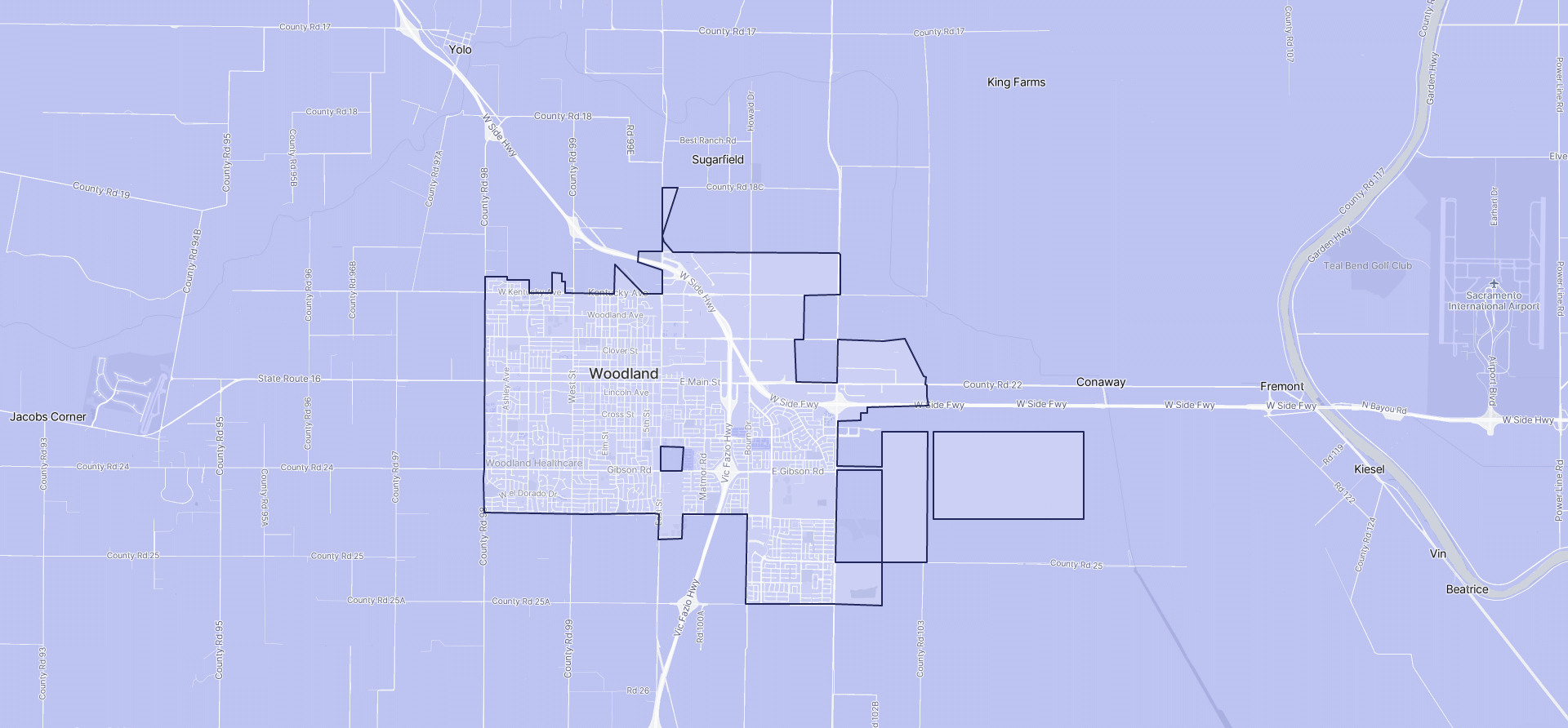 Image of Woodland boundaries on a map.