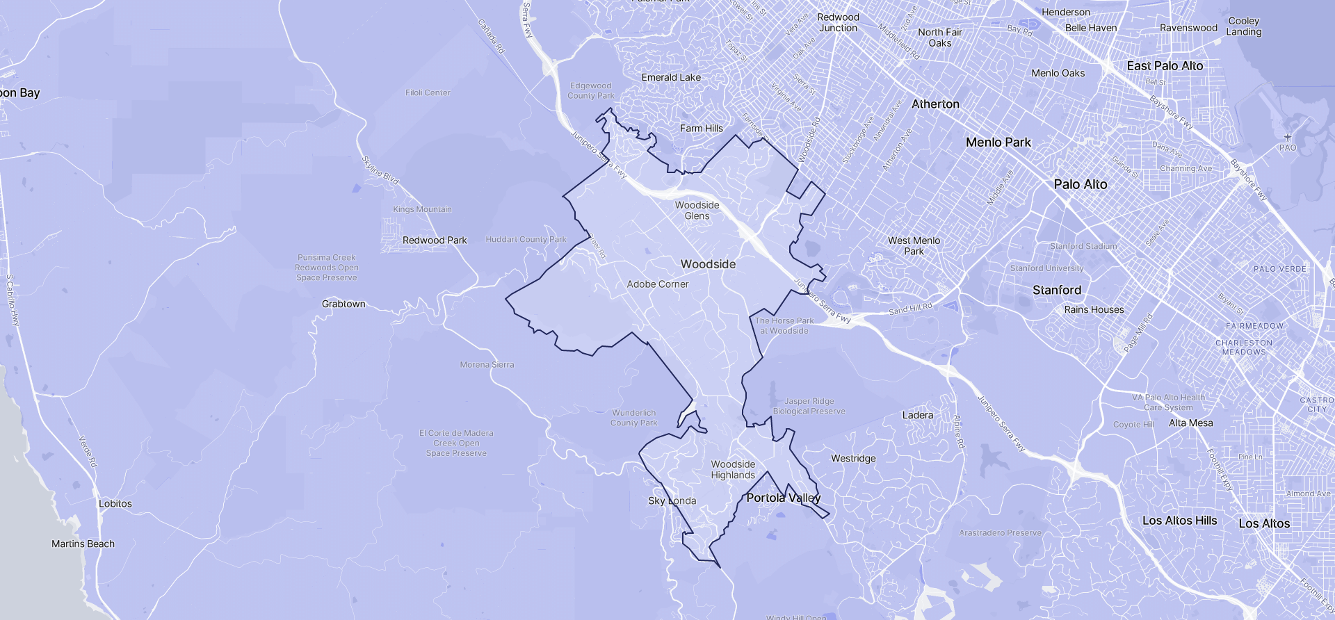 Image of Woodside boundaries on a map.