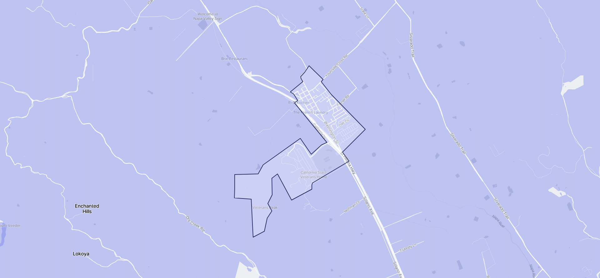 Image of Yountville boundaries on a map.