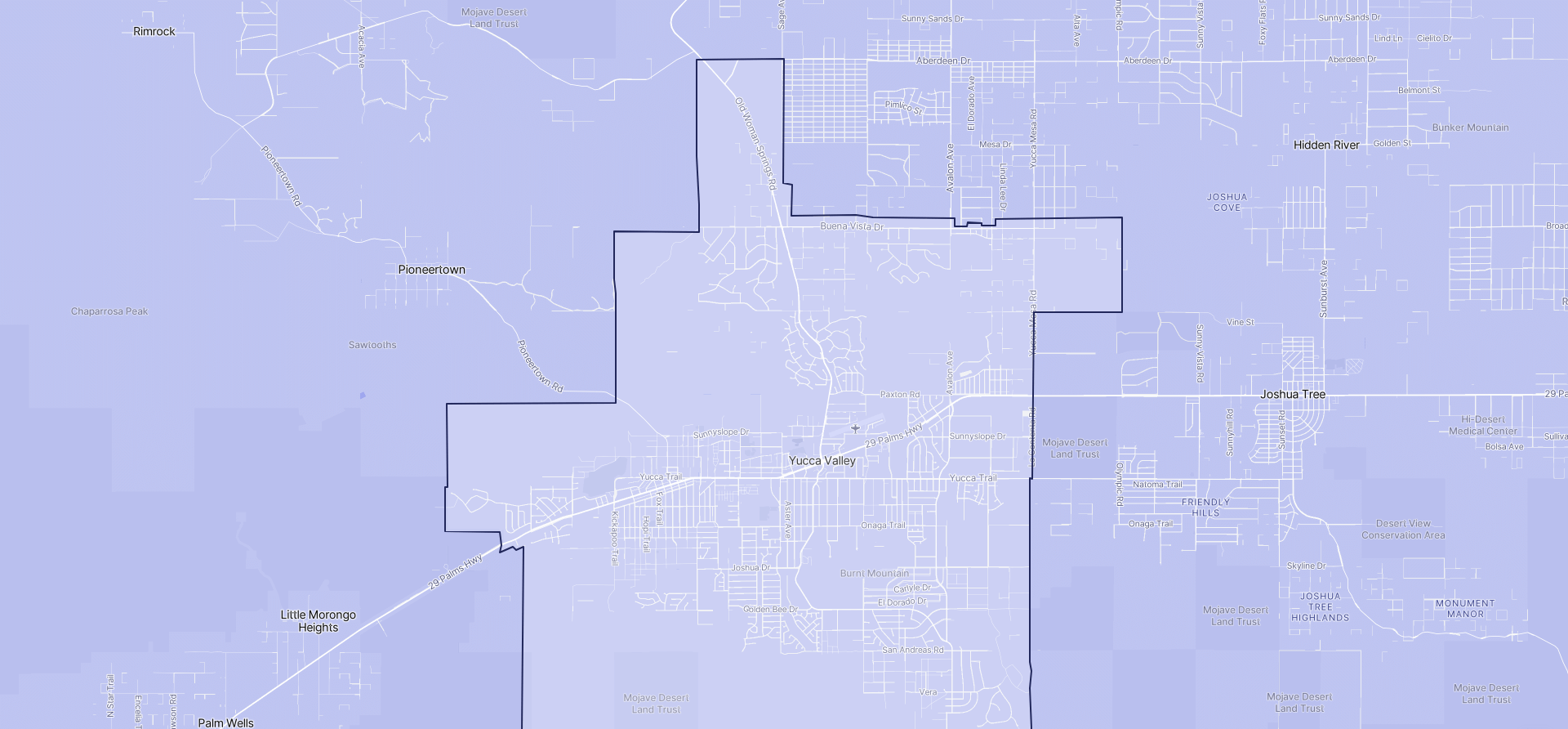 Image of Yucca Valley boundaries on a map.